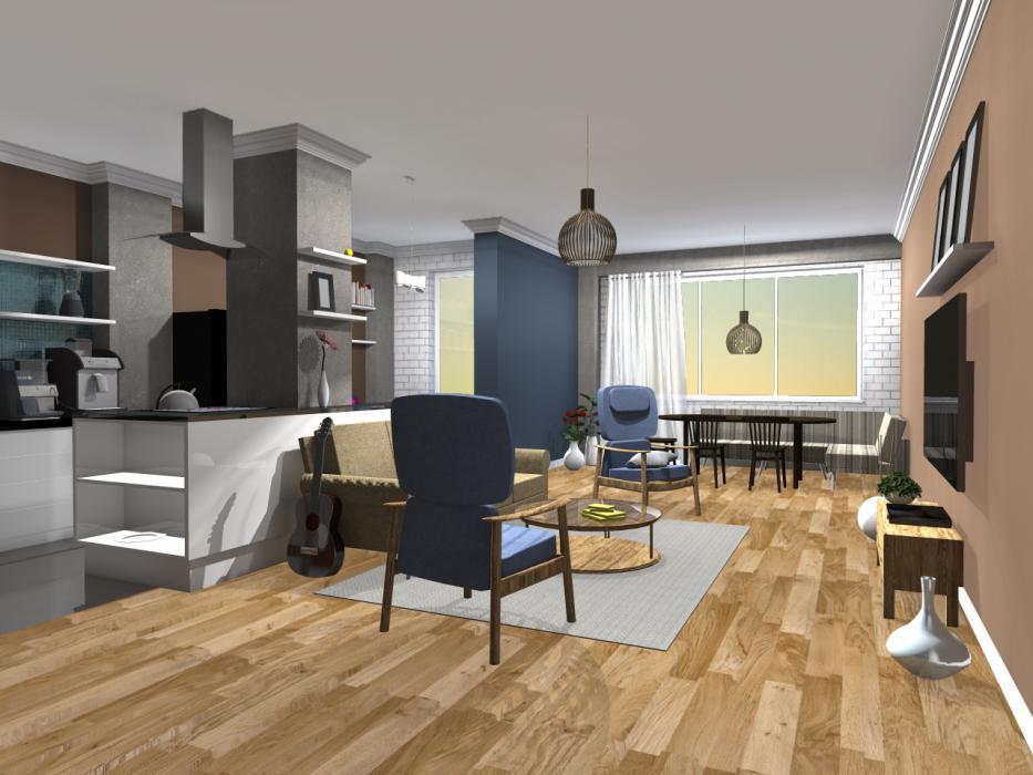 Интерьер кухни и гостиной, США - 1