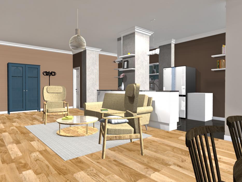 Интерьер кухни и гостиной, США - 4