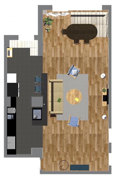Интерьер кухни и гостиной, США - 5